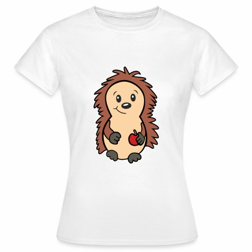 Igel mit Apfel in der Hand - Frauen T-Shirt