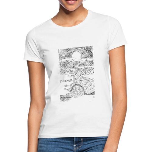 doodle montagna, disegno scena naturale notturna - Maglietta da donna