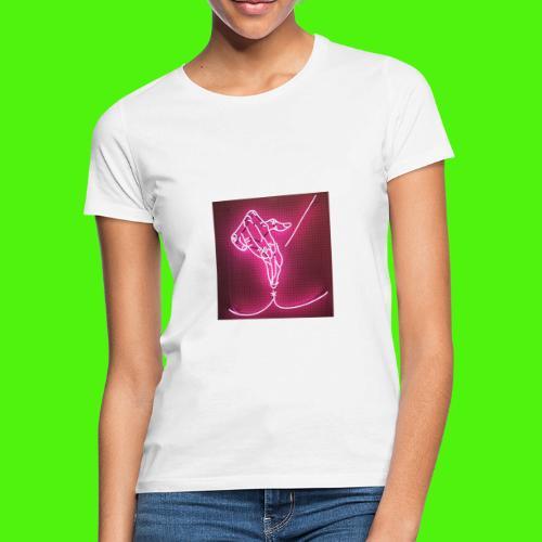 T-shirt med neon hand - T-shirt dam