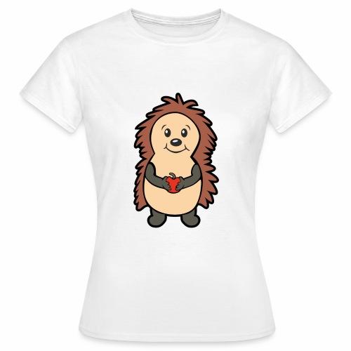 Igel mit Apfel in den Händen - Frauen T-Shirt