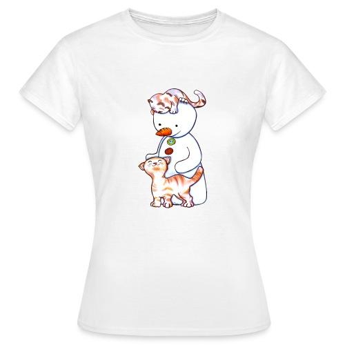 Deux petits chats et Jou le bonhomme de neige - T-shirt Femme