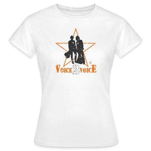 voice2voice logo used 2 mit rahmen141220 - Frauen T-Shirt