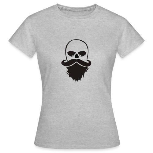 Bartträger Motiv, Scull mit Mustache, Bart-Shirt - Frauen T-Shirt