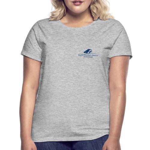 MMOA Logo Blue Marine Mammal Observer on back - Women's T-Shirt