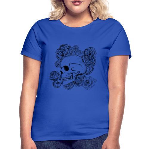 Teschio con fiori, disegno in inchiostro nero - Maglietta da donna