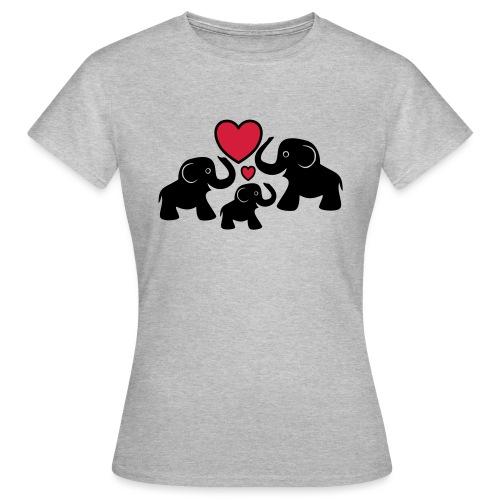 Zu dritt Elefanten Familie Mama Papa Baby Herz - Frauen T-Shirt
