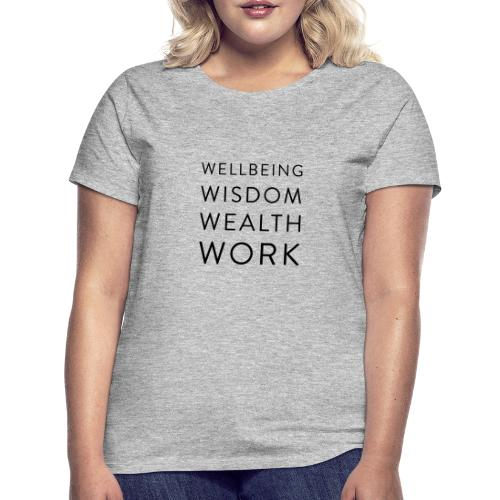 Wellbeing, Wisdom, Wealth, Work - Women's T-Shirt