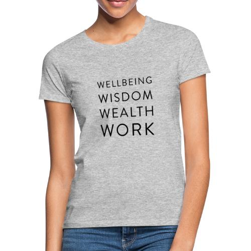 Wellbeing, Wisdom, Wealth, Work - Women's T-Shirt