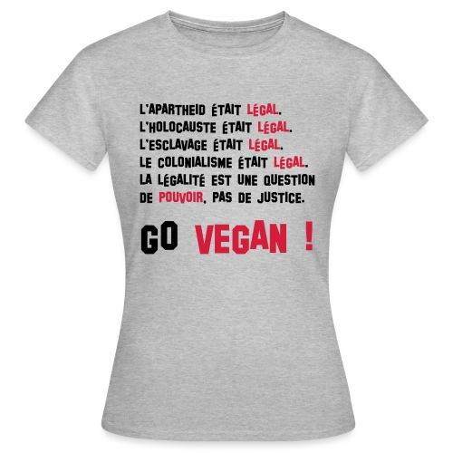 GO VEGAN - T-shirt Femme