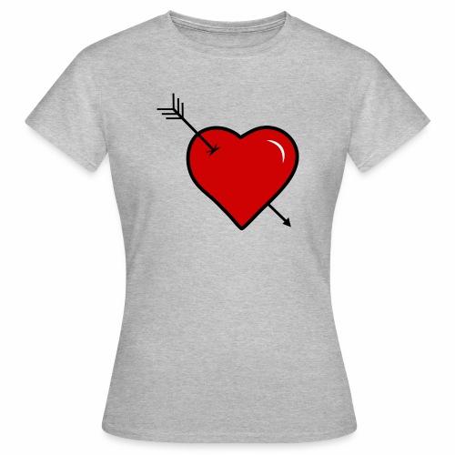coeur troué par une fléche - T-shirt Femme