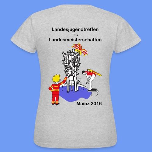 LM Logo vierfarbig mit Schrift schwarz - Frauen T-Shirt