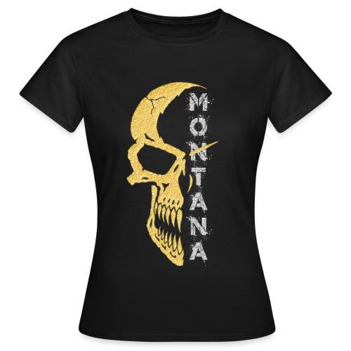 Motiv T Shirt Skull 1 Gold Montana - Frauen T-Shirt