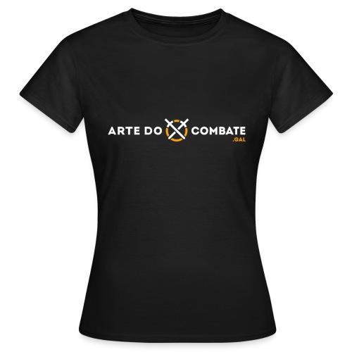 Logótipo «Arte do Combate» horizontal sobre preto - Camiseta mujer