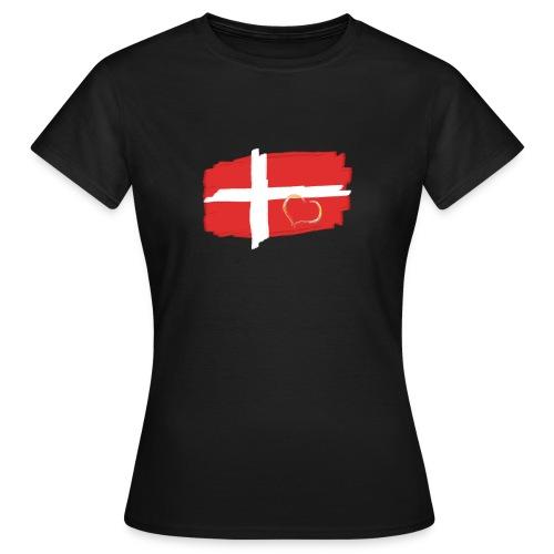 Dänemark Fahne mit Herz Flagge Land Nation - Frauen T-Shirt
