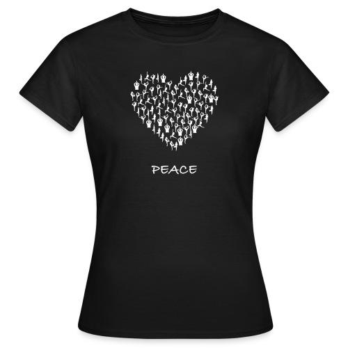 Peace Yoga Heart With Tiny Yoga Poses Meditation - T-skjorte for kvinner