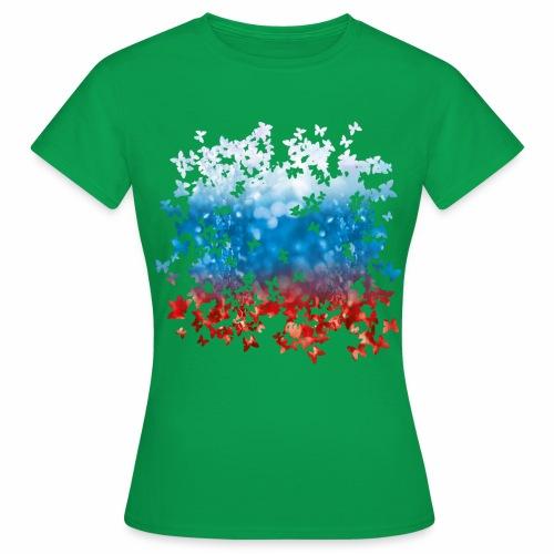 06 Russland Flagge Fahne Russia Schmetterlinge - Frauen T-Shirt