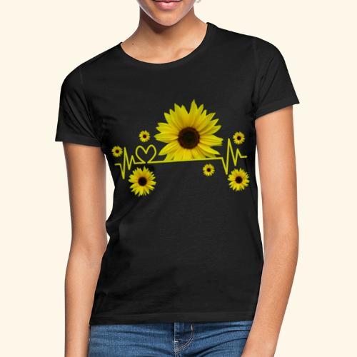 Sonnenblumen, Sonnenblume, Herzschlag, Herz, Blume - Frauen T-Shirt