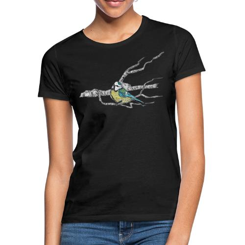 Blaumeise auf Ast - Frauen T-Shirt