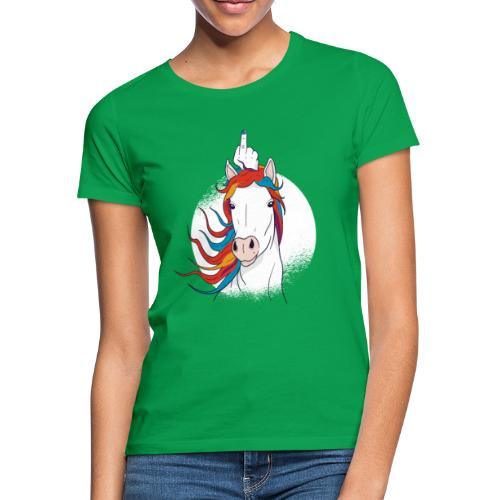 Cartoon Einhorn Mittelfinger Design - Frauen T-Shirt