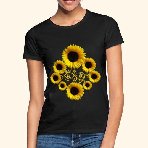 Sonnenblumen mit Ornament, Sonnenblume, Blumen - Frauen T-Shirt