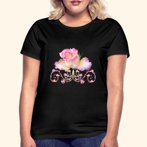 Rose pink, Ornament, Rosen, Blumen, Blüten, floral - Frauen T-Shirt
