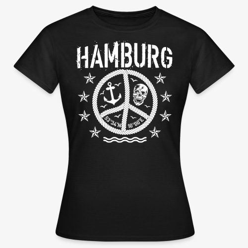 105 Hamburg Peace Anker Seil Koordinaten - Frauen T-Shirt