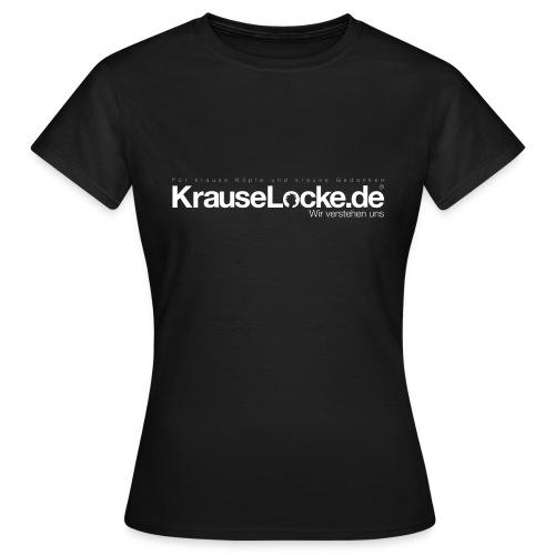 KrauseLocke Logo FINAL mit Claim weiss - Frauen T-Shirt