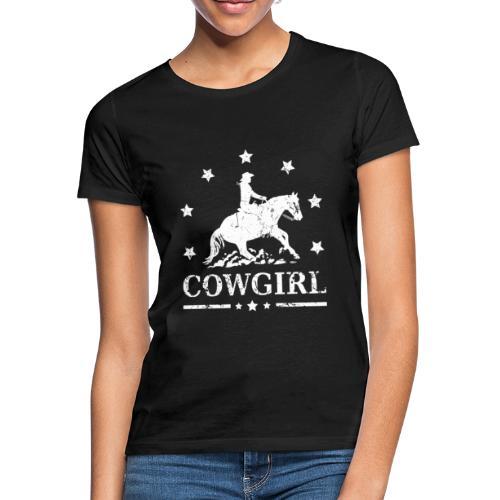 Westernreiterin Reining Sliding Stop Silhouette - Frauen T-Shirt