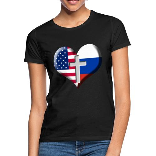 USA and Russia Heart with Cross - Women's T-Shirt