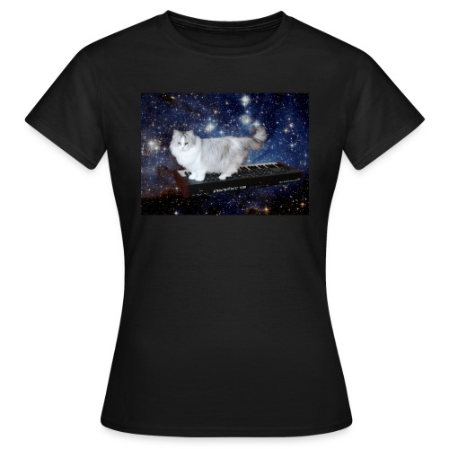 Cat on synthesizer in space p08 - Vrouwen T-shirt