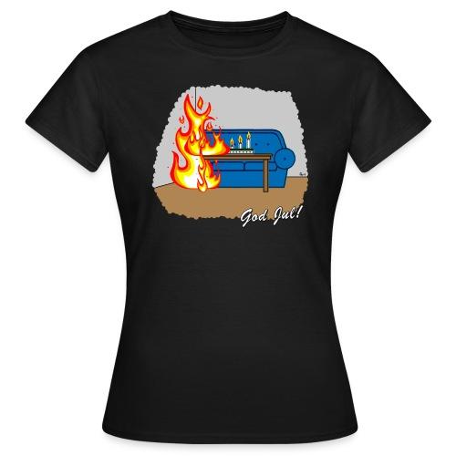 Cyniskt julmotiv - Glöm inte ljusen - Vit - T-shirt dam