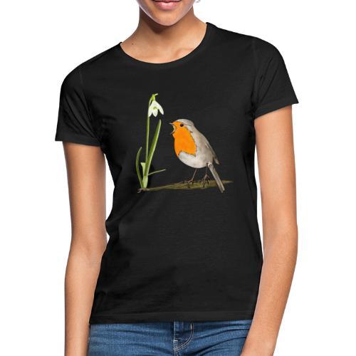 Frühling, Rotkehlchen, Schneeglöckchen - Frauen T-Shirt