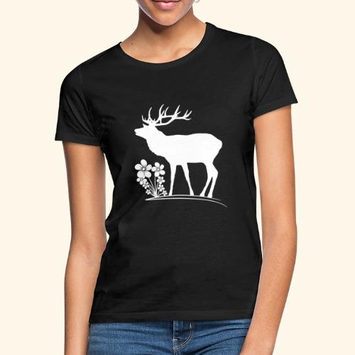 wilder Hirsch mit Blumen, Tiere, Reh, Hirsche - Frauen T-Shirt