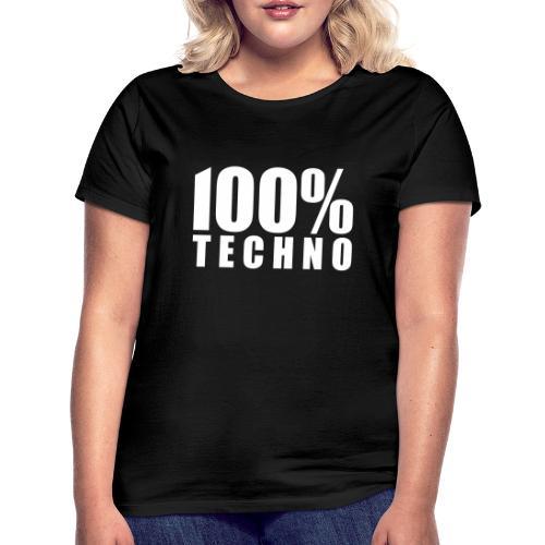 100% Techno Schriftzug Floorfreude Rave Festivals - Frauen T-Shirt