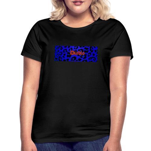 Diablo gotic lettering pattern blue leopard - Camiseta mujer