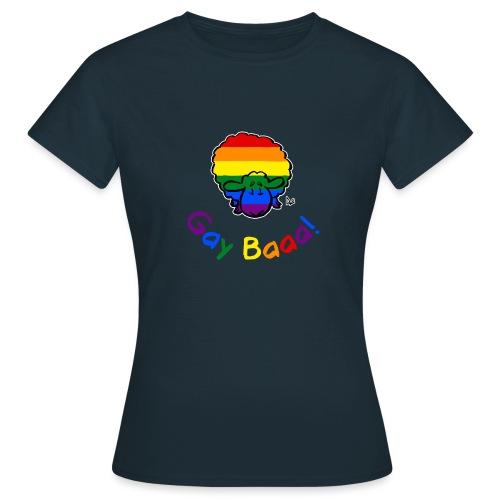 Homosexuell Baaa! Pride Sheep (schwarze Ausgabe Regenbogentext) - Frauen T-Shirt