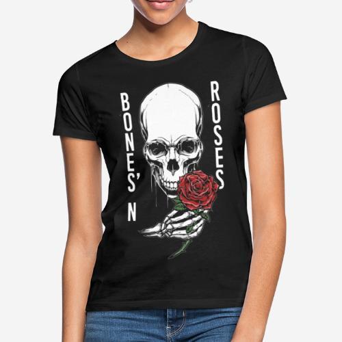 Knochen Rosen Schädel - Frauen T-Shirt