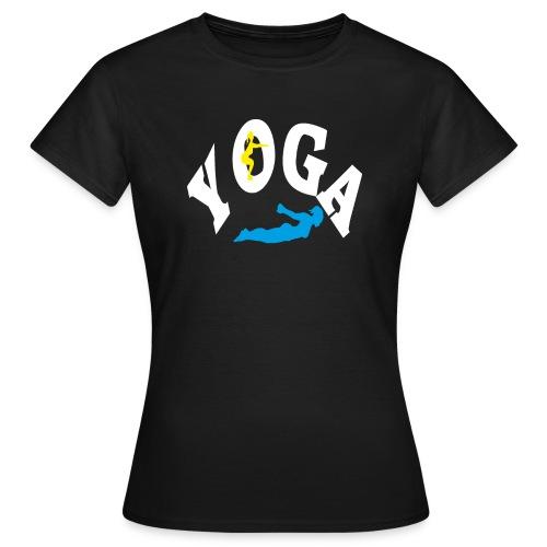 Yoga Schriftzug mit Posen Körperspannung Geschenk - Frauen T-Shirt