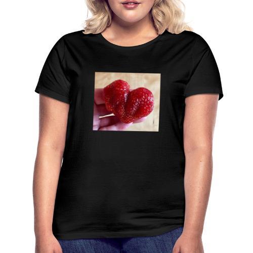 Jordgubbs hjärta - T-shirt dam