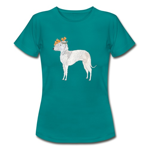 bedlington with flower - Dame-T-shirt