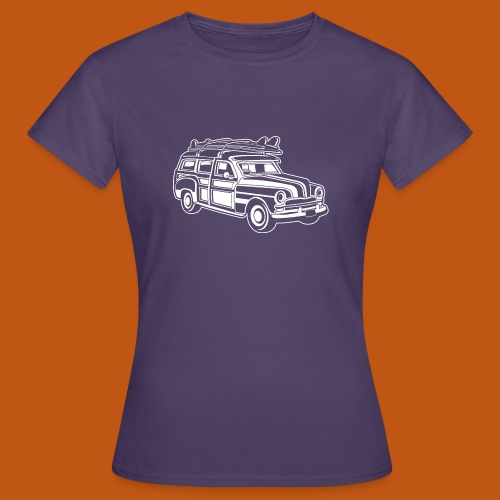 Chevy Cadilac Woodie / Oldtimer Kombi 01_weiß - Frauen T-Shirt
