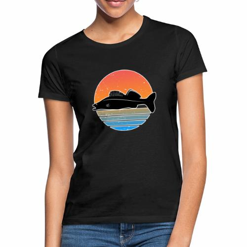 Retro Zander Angeln Fisch Wurm Raubfisch Shirt - Frauen T-Shirt