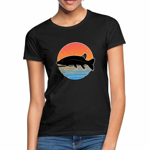 Retro Hecht Angeln Fisch Wurm Raubfisch Shirt - Frauen T-Shirt