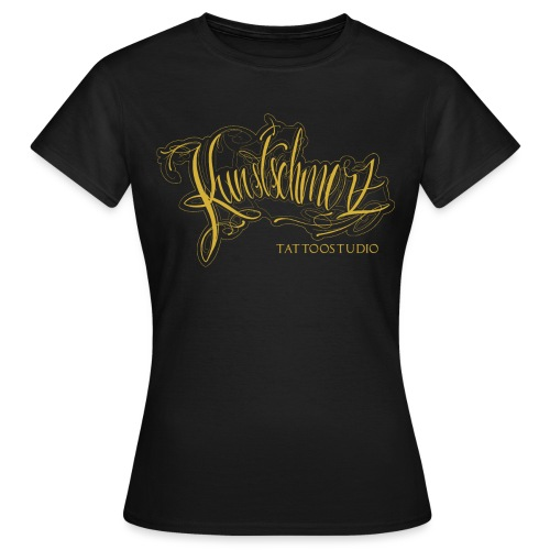 Kunstschmerz Logo Schrift gold - Frauen T-Shirt