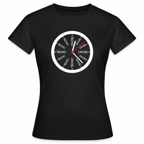 Techno Uhr Clock Rave All Day Clubbing DJ Watch - Frauen T-Shirt