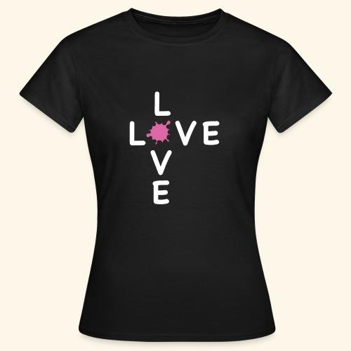 LOVE Cross white klecks pink 001 - Frauen T-Shirt