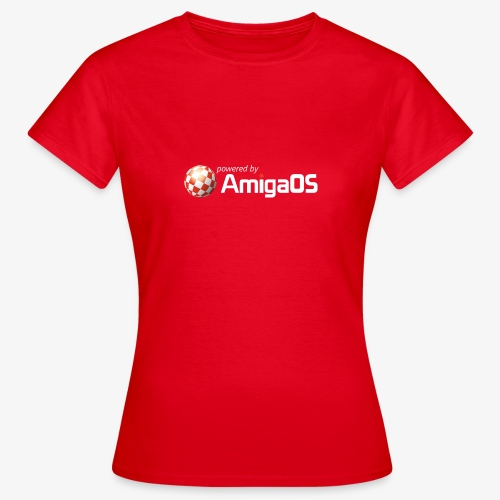 PoweredByAmigaOS white - Women's T-Shirt