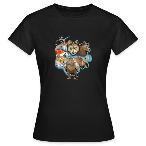 10 01 Wild life - Susi, poro, karhu, ilves, kotka - Naisten t-paita
