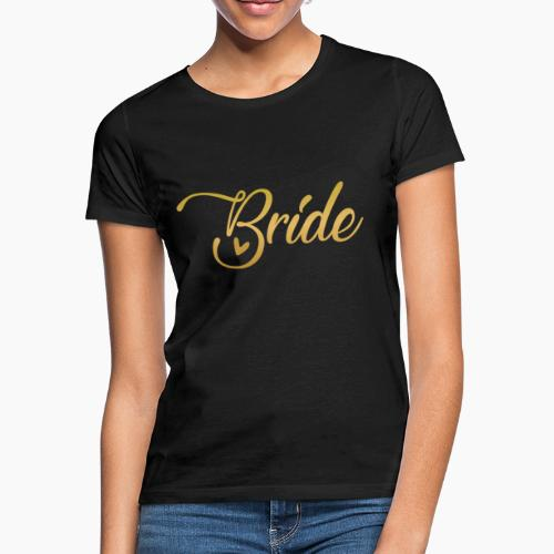 Bride - yellow lettering with a decor. heart - Women's T-Shirt