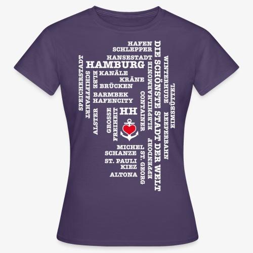 Hamburg Begriffe / Herz auf Anker / Text weiss - Frauen T-Shirt